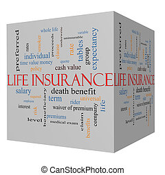 Life Insurance Word Cloud Concept on a 3D Cube with great...