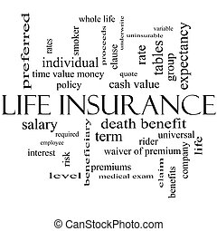 Life Insurance Word Cloud Concept in black and white with...
