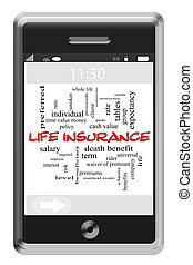 Life Insurance Word Cloud Concept on Touchscreen Phone -...