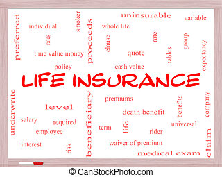Life Insurance Word Cloud Concept on a Whiteboard with great...