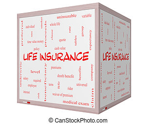 Life Insurance Word Cloud Concept on a 3D Cube Whiteboard...