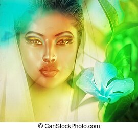 Surreal womans face abstract.