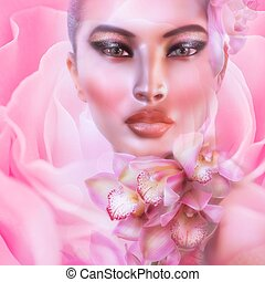Abstract pink floral, womans face - Abstract pink, floral...