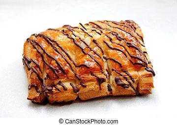 chocolate danish -  a chocolate danish puff pastry on white