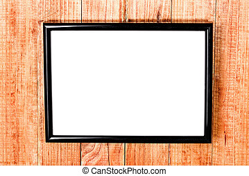 photo frame on wooden background