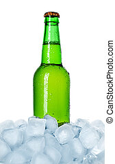 bottle of beer on ice isolated