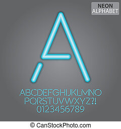 Blue Neon Alphabet and Numbers Vector