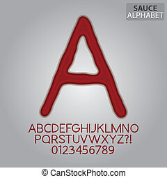 Tomato Sauce Alphabet and Numbers Vector