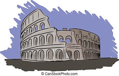 Colosseum vector sketch - Vector sketch Colosseum Italy