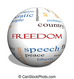 Freedom 3D Sphere Word Cloud Concept