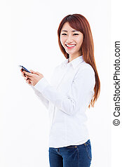 Young Asian woman using a smart phone - Young Asian woman...