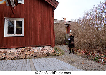 Rural scene with house in autumn. Sala, Mid Sweden - Rural...
