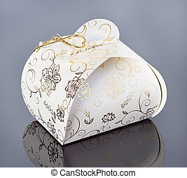 gift box, present, with golden ornaments