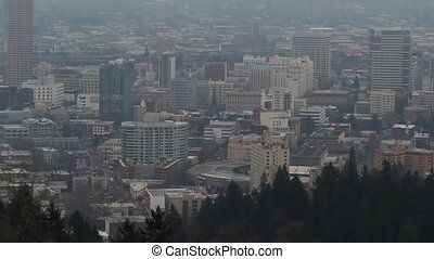 Portland OR City with Mt Hood - Portland OR Downtown...