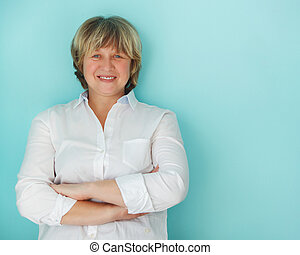 Middle aged woman with happy smile - Middle aged woman...