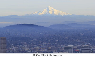 Portland Oregon City with Mt Hood - Portland Oregon Downtown...