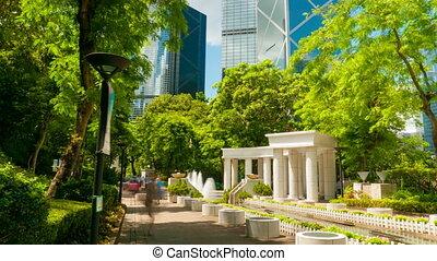 4k 4096x2304 timelapse, Sunny day in Hong Kong Park