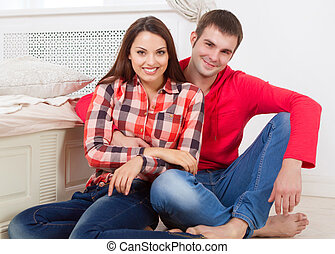 Couple in love at home