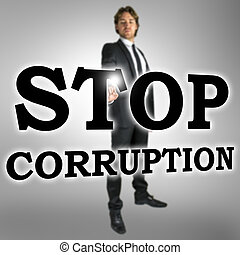 Stop corruption - Businessman choosing Stop corruption icon...