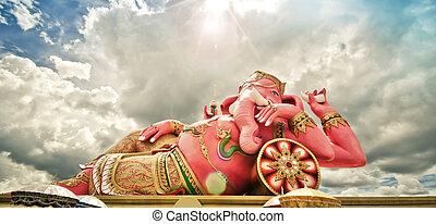 dios,  India,  ganesha, o, éxito