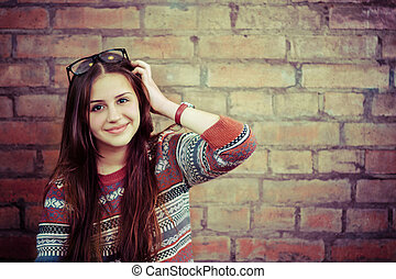 Close up portrait of a beautiful cute teen girl smilling...