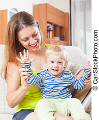 happy mom with toddler