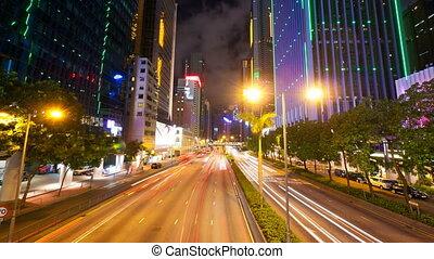 4k (4096x2304) timelapse in motion, Street traffic in Hong...