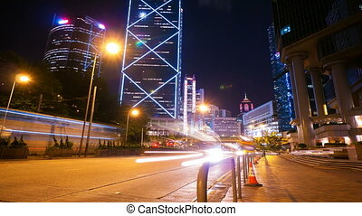 4k 4096x2304 timelapse in motion, Street traffic in Hong...