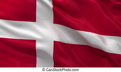 Flag of Denmark seamless loop - Flag of Denmark waving in...