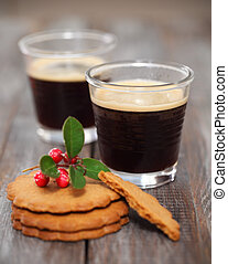 Christmas cookies with coffee - Christmas cookies with hot...