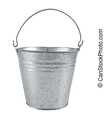 Metal zinc bucket isolated over white background