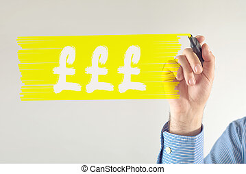 Pound currency symbol Businessman drawing pound currency...