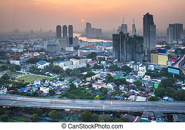 Urban City Skyline, Bangkok, Thailand - Bangkok is the...