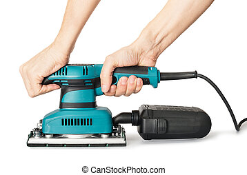 Electrical sander - Man's hands holding electrical sander.