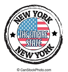 New York, The Empire State stamp - Grunge rubber stamp with...