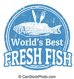 Fresh fish stamp - Grunge rubber stamp with fish shape and...