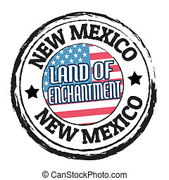 New Mexico, Land of Enchantment stamp - Grunge rubber stamp...
