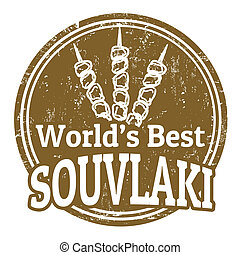 world's best souvlaki stamp - Grunge rubber stamp with text...