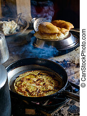 Apple pancake and Gurung breads - Preparing apple pancake...