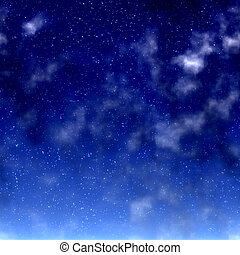 Night sky - Beautiful night sky with stars and clouds