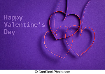 paper flowers with hearts on purple background, valentine...