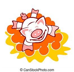 Pig in oranges