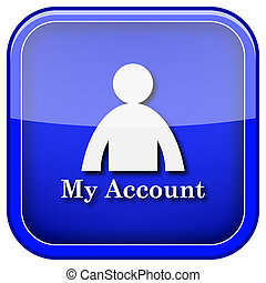 My account icon - Square shiny icon with white design on...
