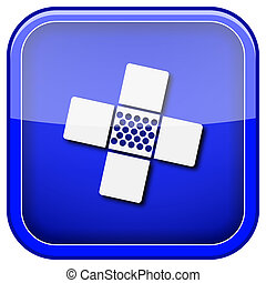 Medical patch icon - Square shiny icon with white design on...
