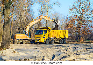 Excavator and Lorry - An orange excavator and a yellow truck...