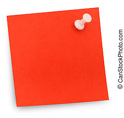 Red paper note pinned - blank - Useful background.