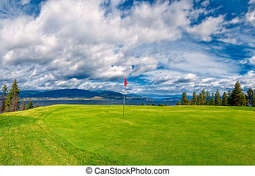 Golf Tee at Kelowna Lakeshore Road Okanagan Valley BC Canada
