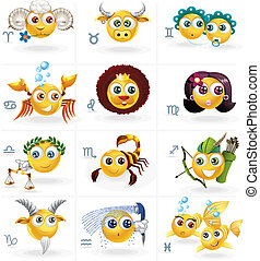 Zodiac Signs - Icons/Smiley Figures - Smiley Zodiac Set....