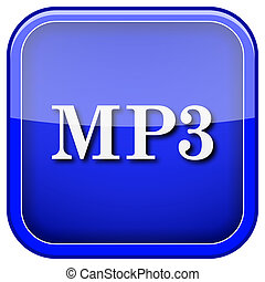 MP3 icon - Square shiny icon with white design on blue...