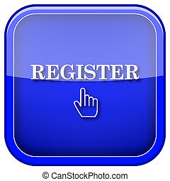 Register icon - Square shiny icon with white design on blue...